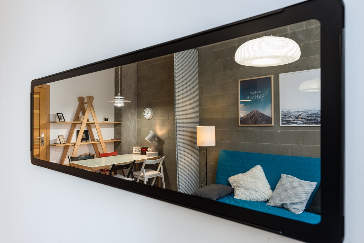 mirror used to make room appear bigger